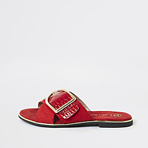 Girls red buckle sliders