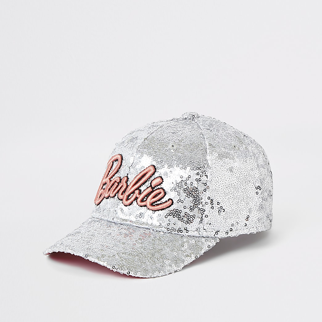 Girls silver Barbie Ipanema sequin cap