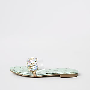 Girls perspex gem embellished sandals