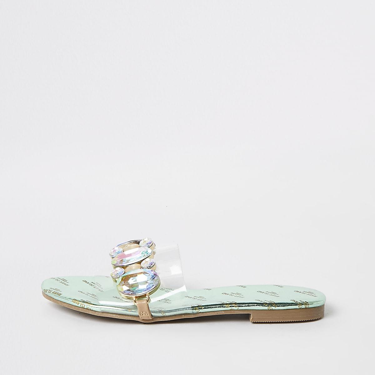 Girls perspex gem embellished sandals