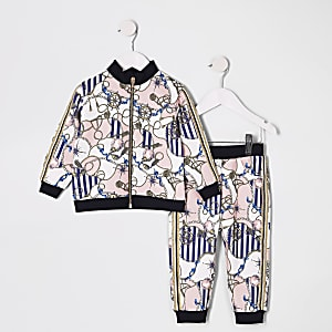Mini girls pink cruise print tracksuit