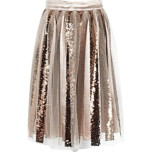 Girls gold sequin midi skirt
