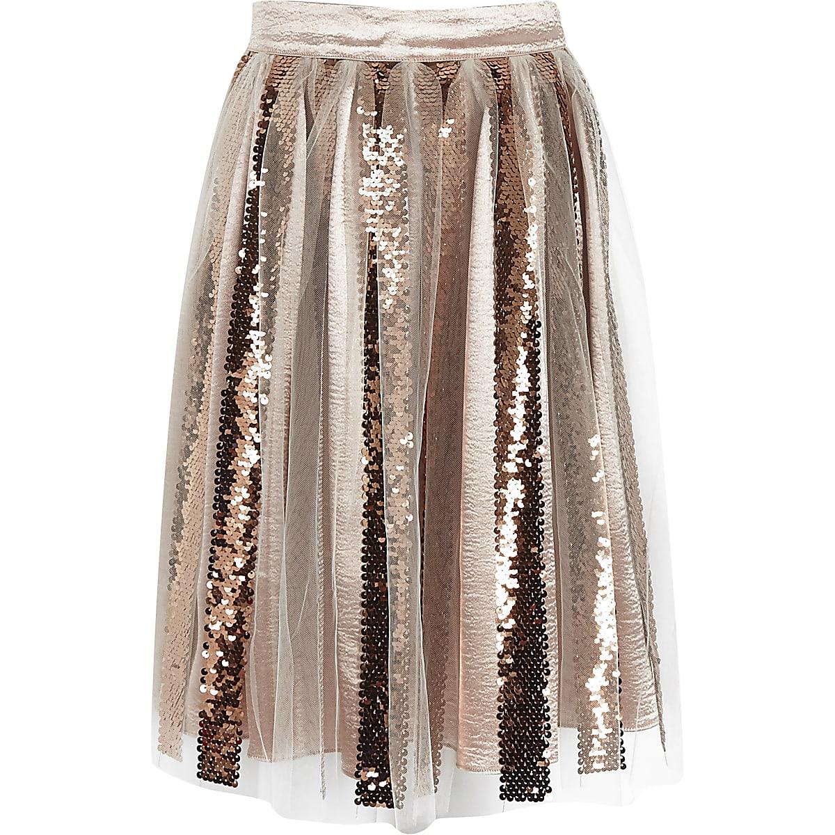 Girls gold sequin midi skirt