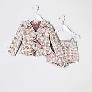 Ensemble avec short en maille bouclée rose multicolore mini fille