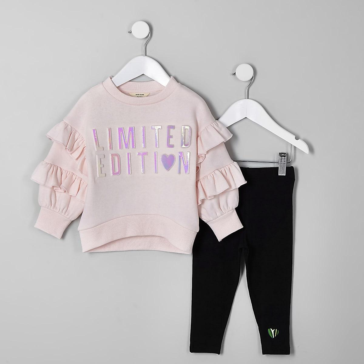 Mini girls pink embossed sweatshirt outfit