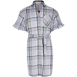 Robe chemise à carreaux violets avec ceinture pour fille