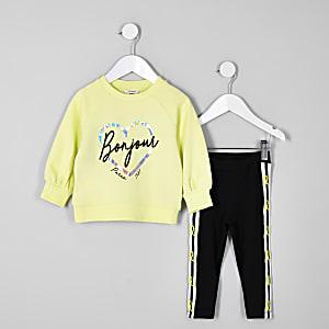 Mini - Outfit met groene sweater met folieprint voor meisjes