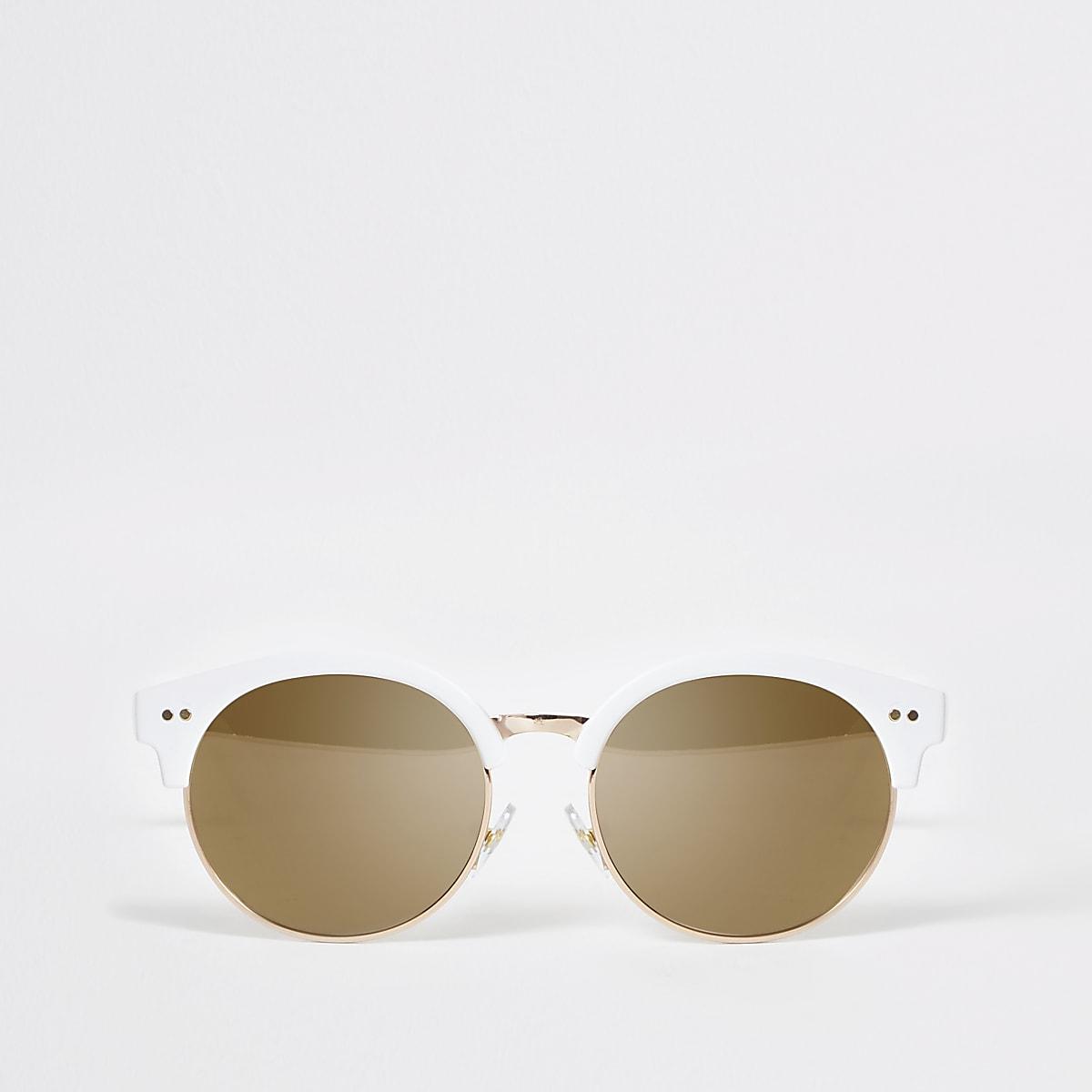Girls white retro sunglasses