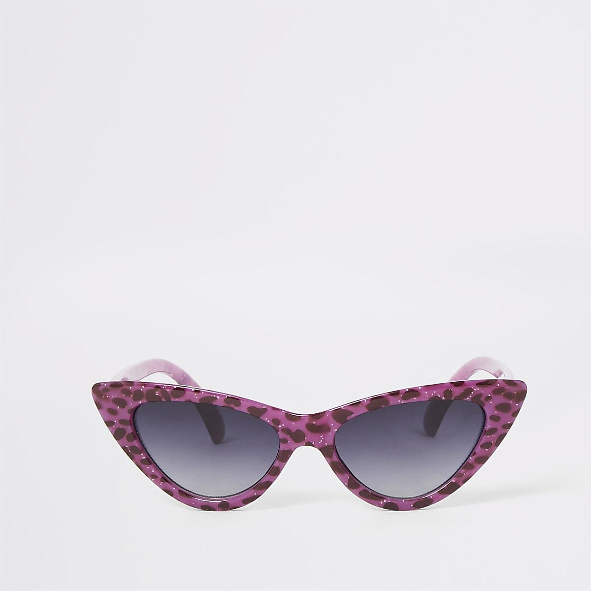 Paarse cat-eye-zonnebril met luipaardprint voor meisjes