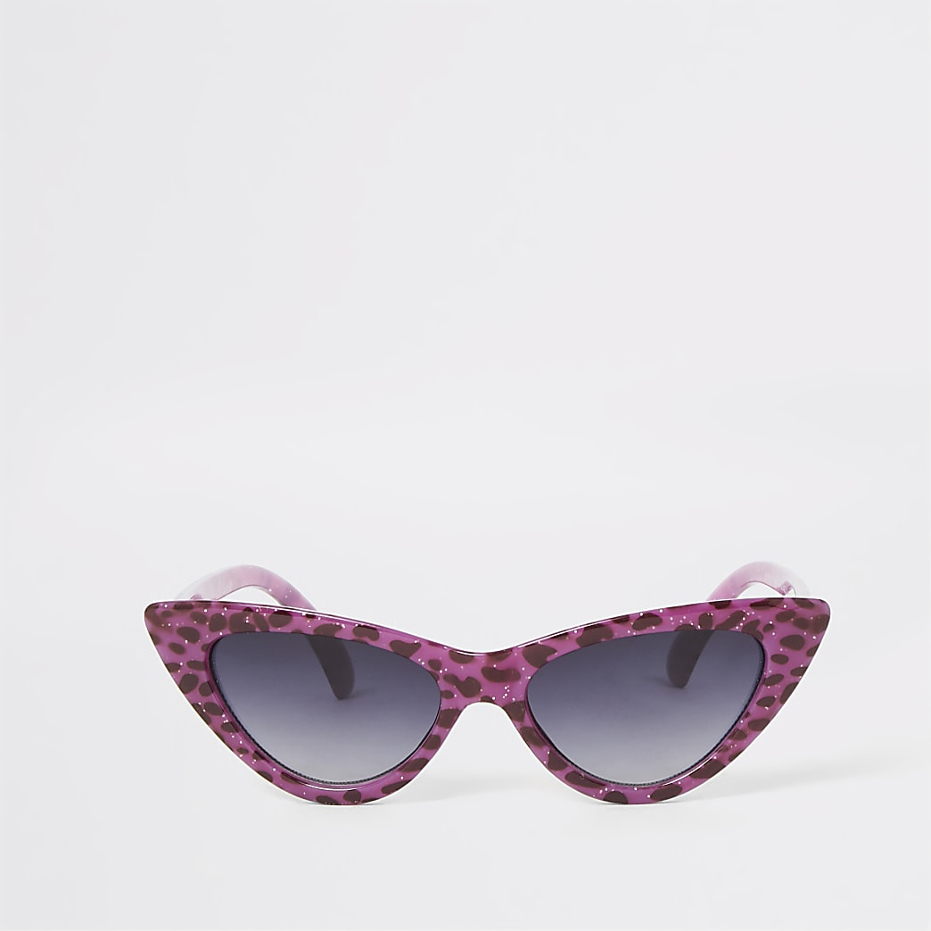Girls purple leopard cat eye sunglasses
