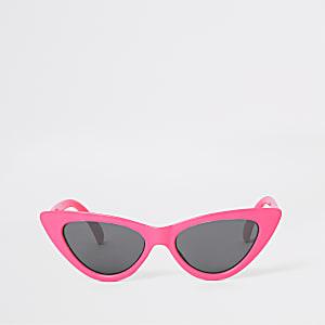 Neonroze cat-eye-zonnebril voor meisjes