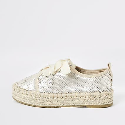 Girls cream sequin espadrille plimsoll