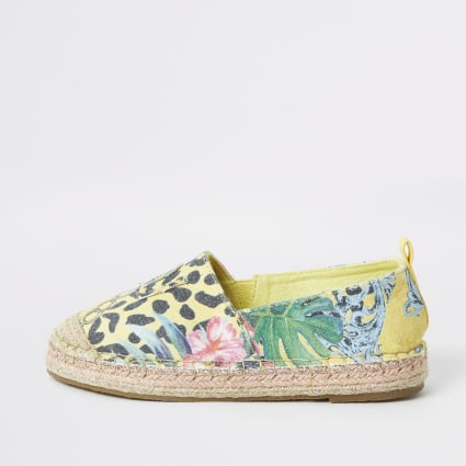 Girls yellow printed espadrille plimsolls