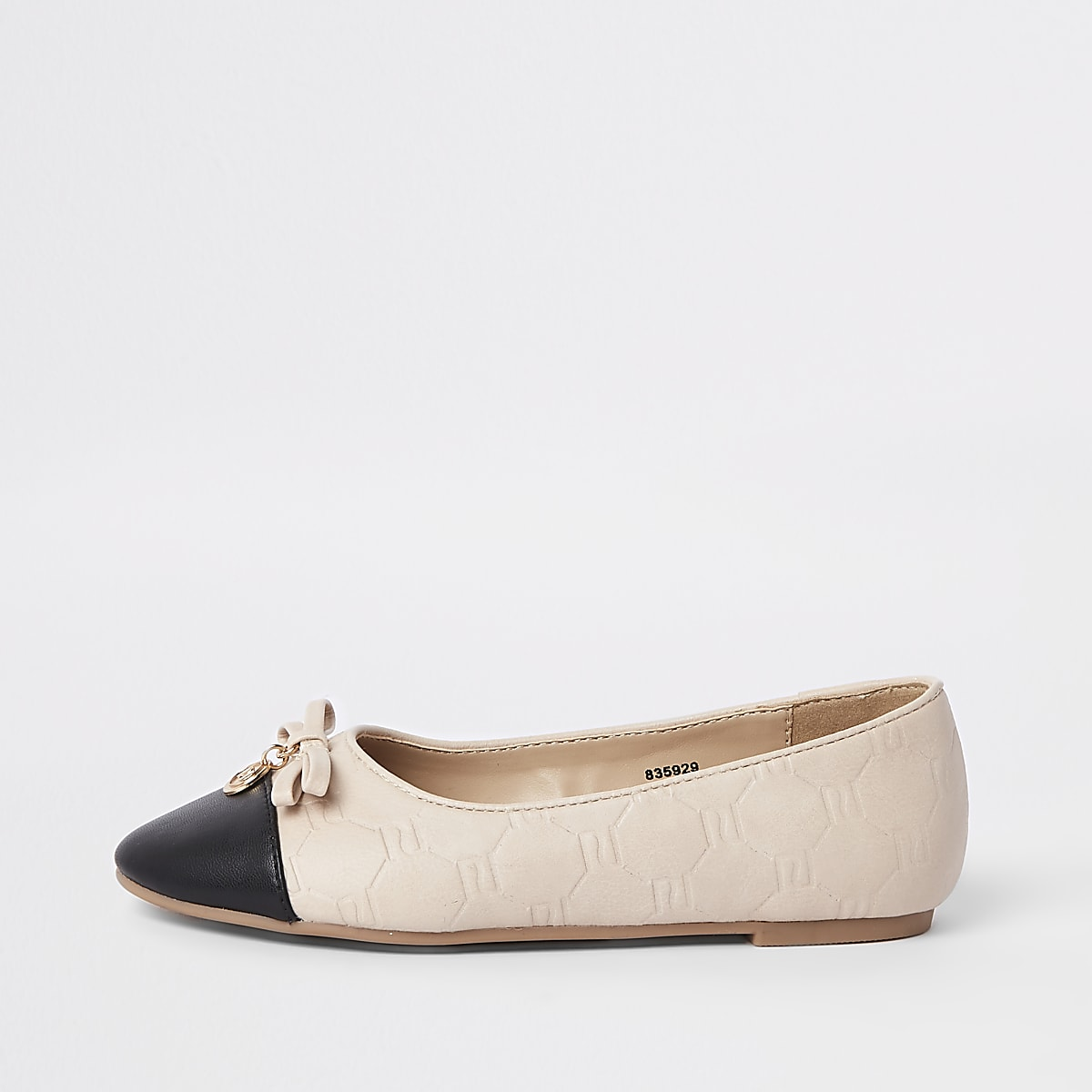 Girls beige RI monogram ballerina pumps