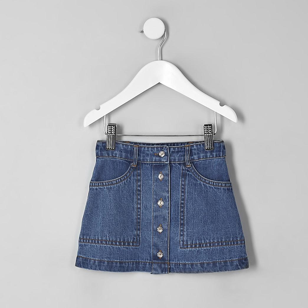 Mini - Blauwe denim rok met A-lijn voor meisjes
