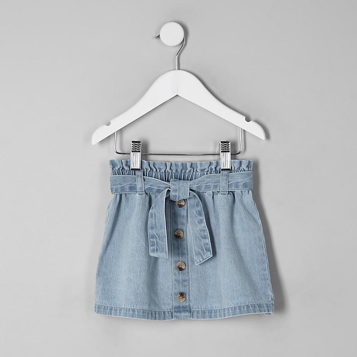 Jupe en denim bleu à taille haute ceinturée mini fille