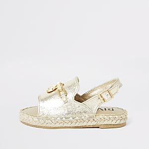 Mini girls gold espadrille peep toe sandals