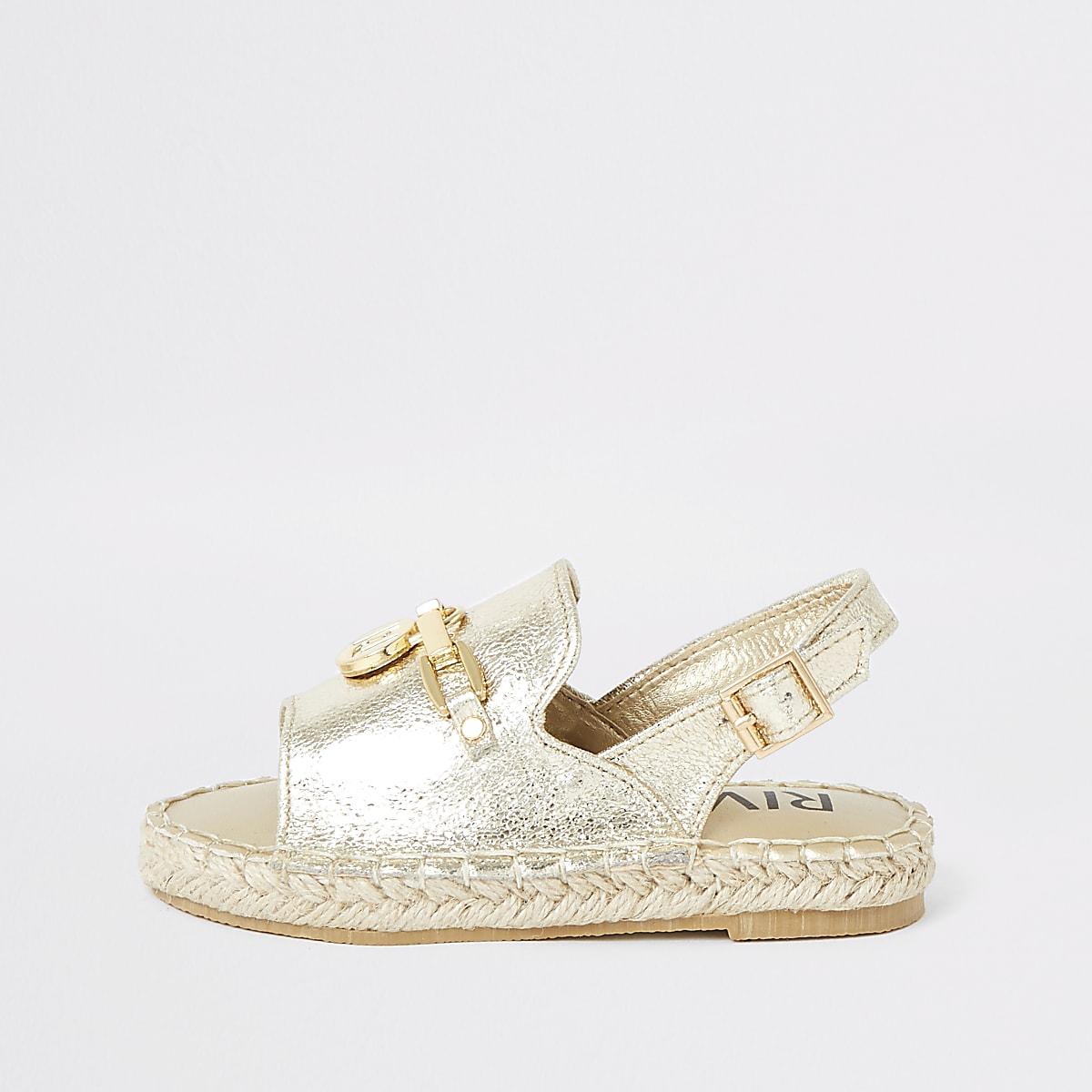 Mini girls gold espadrille peep toe sandals