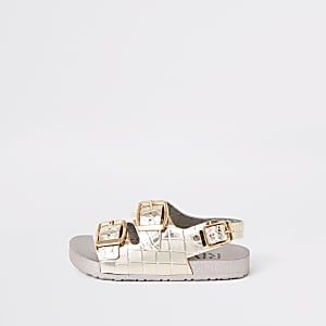 Mini girls pink croc metallic jelly sandals