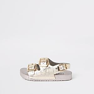 Mini - Roze metallic jelly sandalen met krokodillenprint voor meisjes