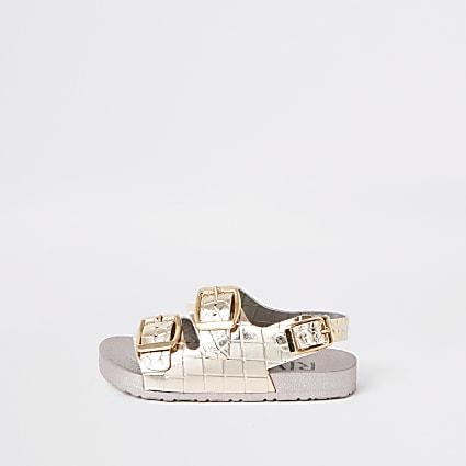 Mini girls pink croc metallic jelly sandals