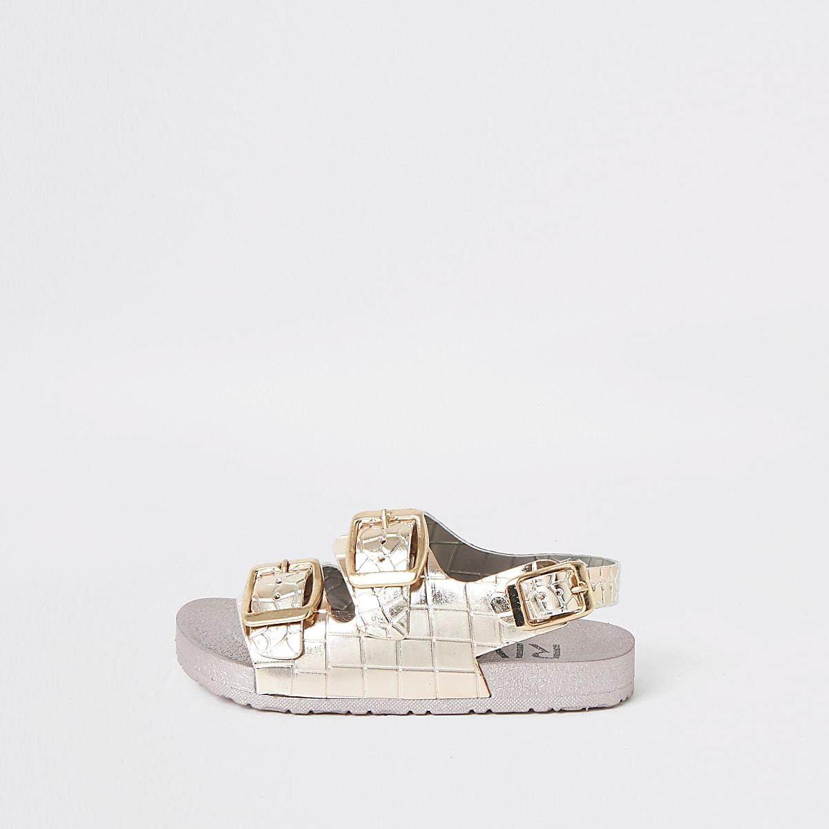 9f3fe6c22b0bf ... Sandales en plastique effet croco métallisé roses mini fille ...
