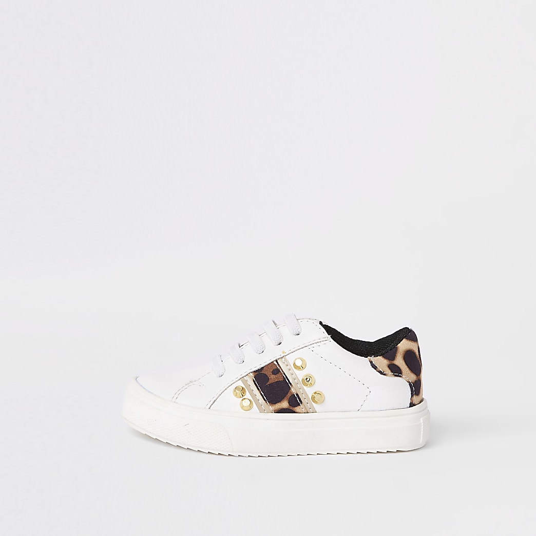 Mini girls white leopard studded trainers