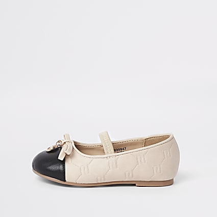 Mini girls beige RI monogram ballet shoes