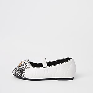 Mini girls white RI snake ballet flats