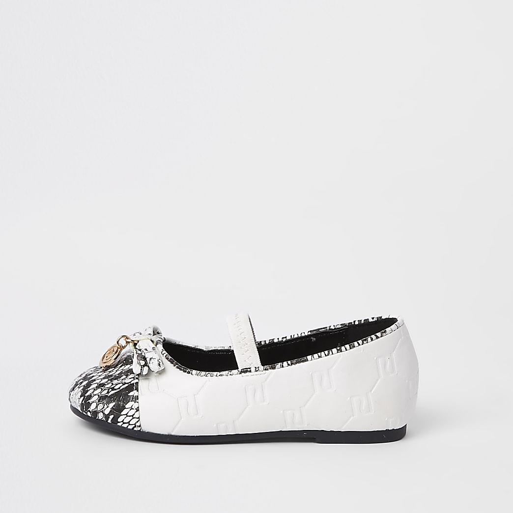 Mini girls white RI snake ballerina pumps