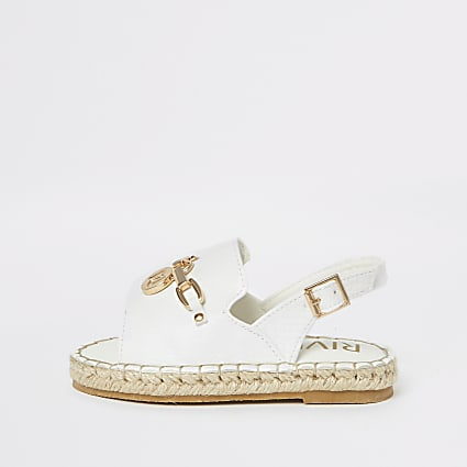 Mini girls white croc espadrille trim sandal