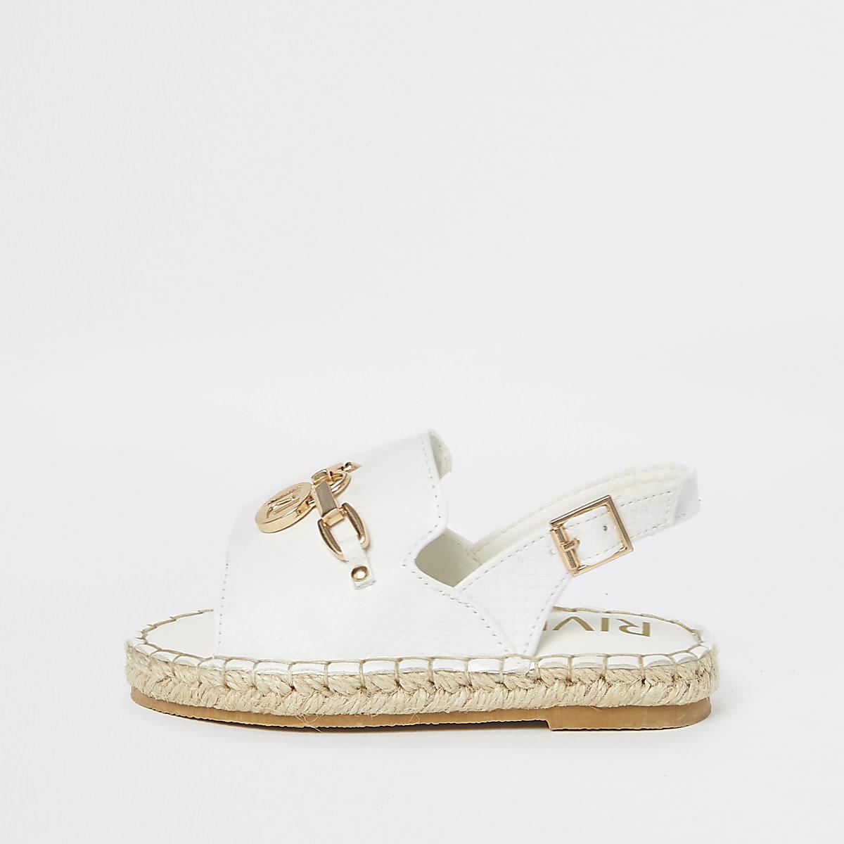 Mini - Witte sandalen met espadrillerand en krokodillenprint voor meisjes