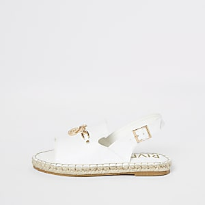 Sandales peep toe blanches style espadrilles pour fille