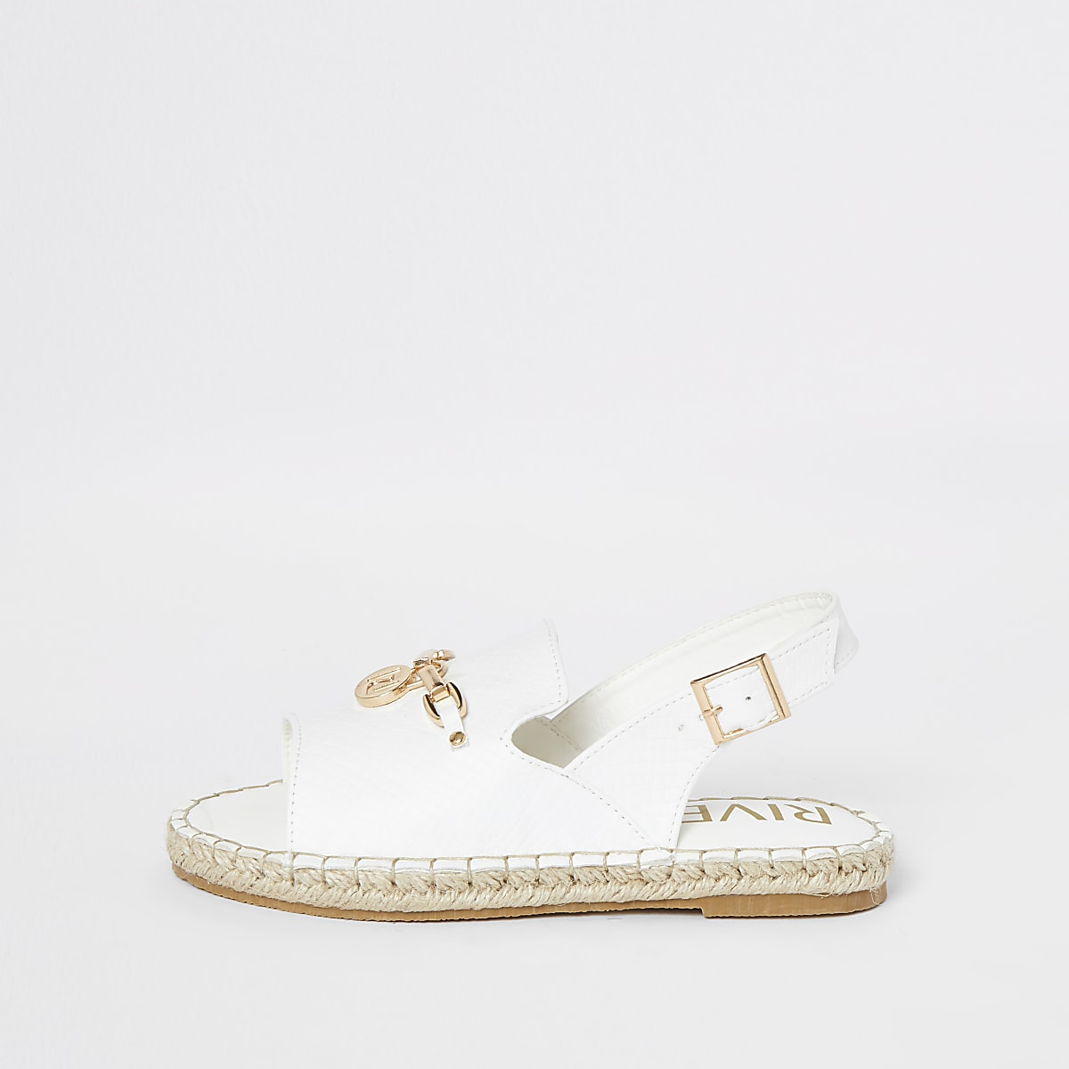 Girls white croc espadrille peep toe sandals