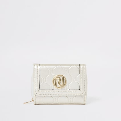 Girls gold RI monogram trifold purse