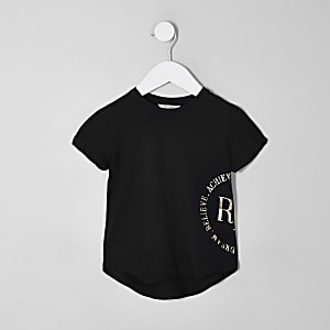 Mini girls RI Active black foil print T-shirt