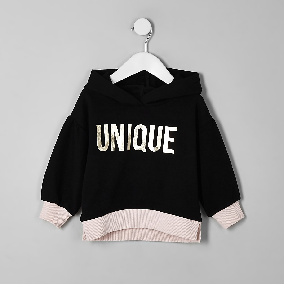 Mini girls black balloon sleeve hoodie