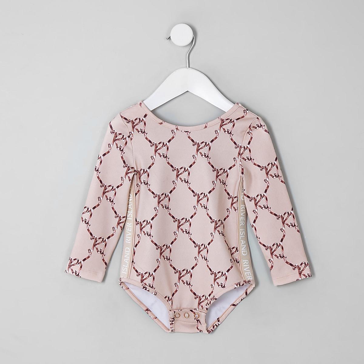 Mini girls RI Active pink bow bodysuit