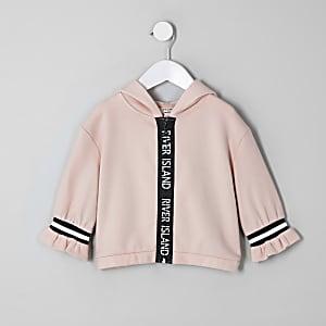Mini - RI Active - Beige hoodie met rits voor meisjes