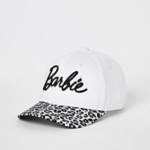 Girls white Barbie leopard print cap