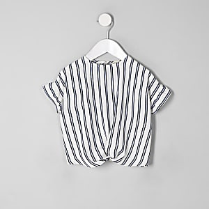Mini girls blue stripe twist front top