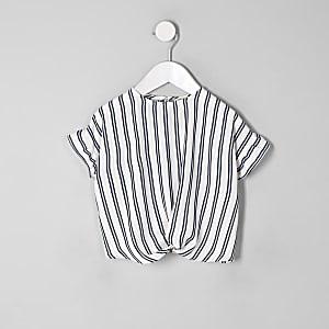 Mini - Blauw gestreepte top met gedraaide voorkant voor meisjes