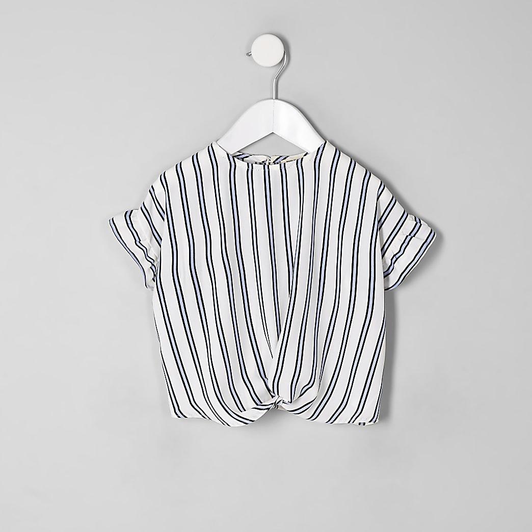 Mini girls blue stripe twist front top