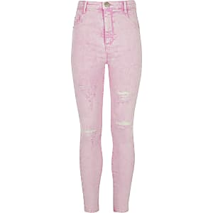 Girls pink Molly acid wash ripped jeggings