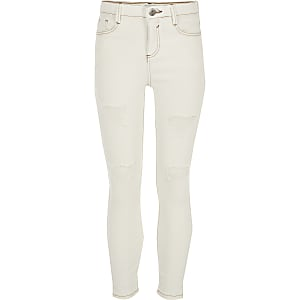 Amelie – Skinny Jeans in Creme im Used Look