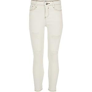 Amelie – Skinny Jeans in Creme im Used Look
