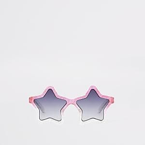 Mini - Roze ombre stervormige glitterzonnebril voor meisjes
