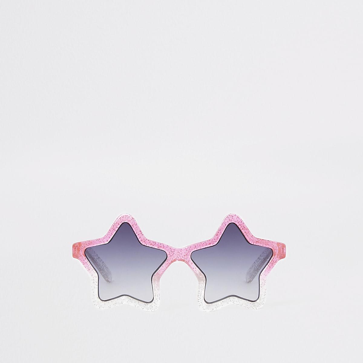 Mini girls pink ombre glitter star sunglasses
