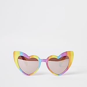 Gelbe Sonnenbrille mit Herzdesign in Regenbogenfarben