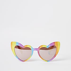 Gele hartvormige zonnebril met regenboog voor meisjes